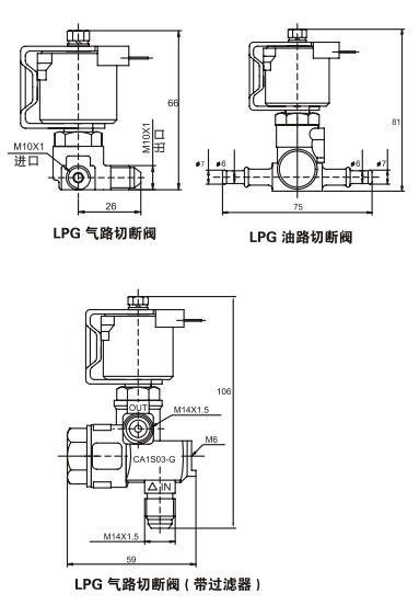lpg系统管路控制电磁阀图片